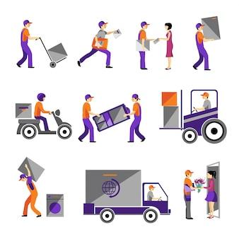 Levering, koeriersdienst, persoon vracht logistieke zakelijke dienst pictogrammen