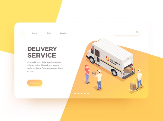 Levering logistiek verzending isometrische web bestemmingspagina ontwerp achtergrond met klikbare links bewerkbare tekst en afbeeldingen illustratie