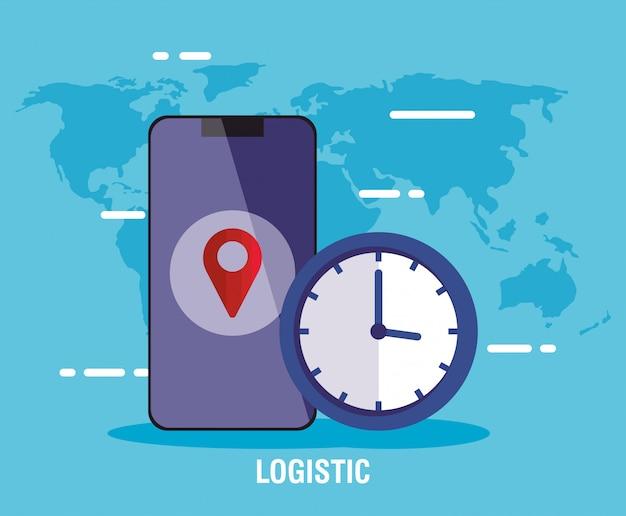 Levering logistieke service met smartphone en klok