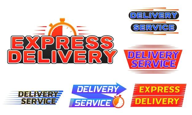 Levering logo banner expresbezorging icoon voor apps en website snelle verzending met timer vector