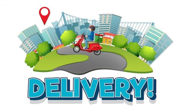 Levering logo met fietsman of koerier in de stad