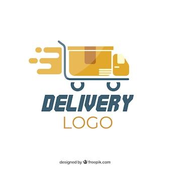 Levering logo sjabloon met vrachtwagen