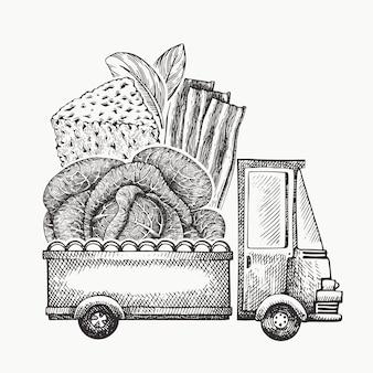 Levering logo voedselwinkel. hand getekende vrachtwagen met groenten, kaas en spek illustratie. gegraveerde stijl retro food design.