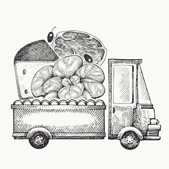 Levering logo voedselwinkel. hand getekende vrachtwagen met groenten, kaas en vlees illustratie. gegraveerde stijl retro food design.