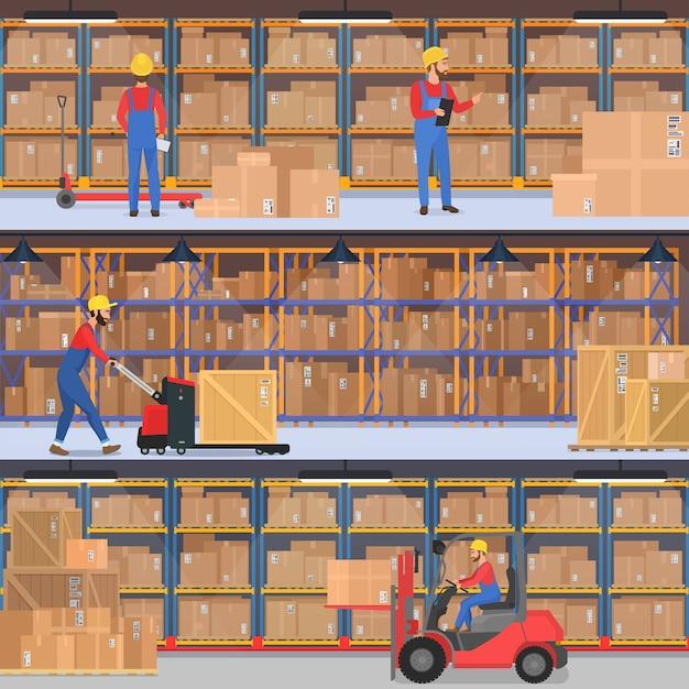 Levering, magazijn, vrachtvervoer bedrijf interieur. magazijn- of fabrieksarbeiders met laadapparatuur