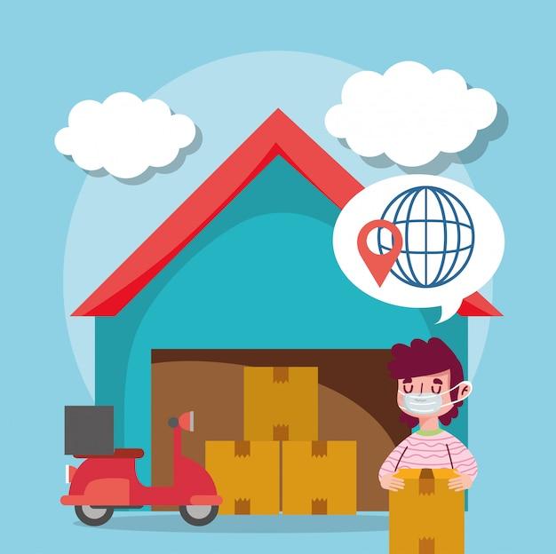 Levering man logistieke magazijn dozen transport e-commerce online winkelen covid 19 coronavirus