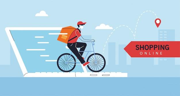 Levering man met beschermend gezichtsmasker in fiets, online winkelen