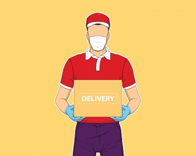 Levering man met doos. online winkelen en snelle levering