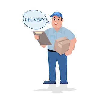 Levering man met een doos in zijn handen