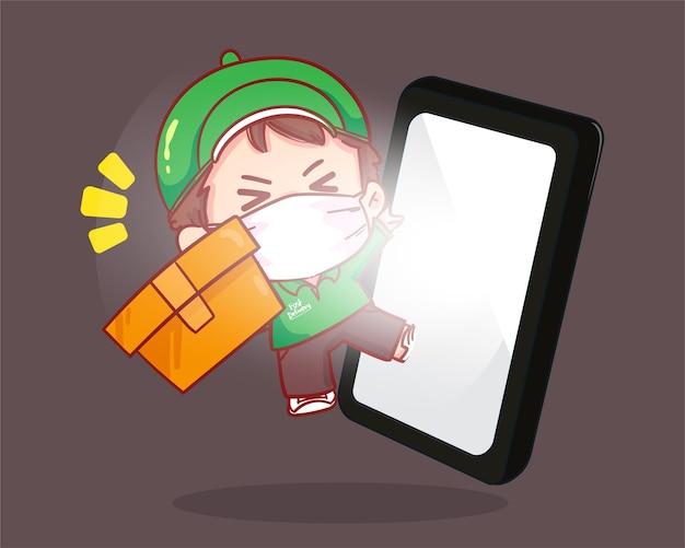 Levering man pakketoverdracht aan klant online bezorgservice