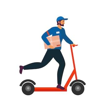 Levering man rijden kick scooter met de doos. concept van snelle levering in de stad. mannelijke koerier met pakketdoos op zijn rug met goederen en producten. de postbode cartoon platte vectorillustratie. Premium Vector