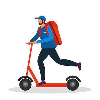 Levering man rijden kick scooter met de doos. concept van snelle levering in de stad. mannelijke koerier met pakketdoos op zijn rug met goederen en producten. de postbode cartoon platte vectorillustratie.