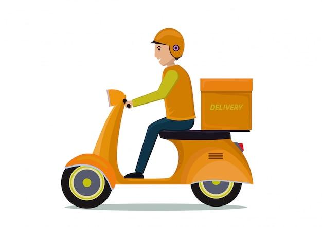 Levering man rijden motorfiets