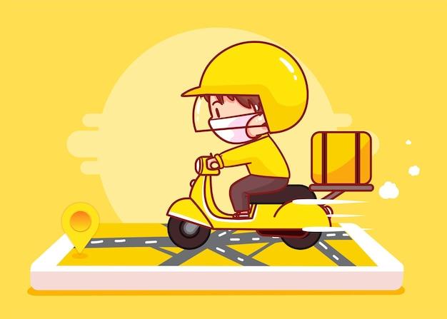 Levering man rijden scooter op kaart