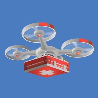 Levering medische drone met rode medische kit. drone vector illustratie grafisch ontwerp. moderne robots leveringsmethoden. geïsoleerd.