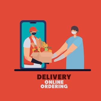 Levering online bestellen belettering en man met veiligheidsmasker en een doos vol marktproducten