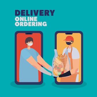 Levering online bestellen belettering en man met veiligheidsmasker en een plastic zak vol met marktproducten