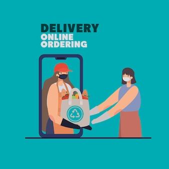 Levering online bestellen belettering en vrouw met veiligheidsmasker en een ecobag vol marktproducten