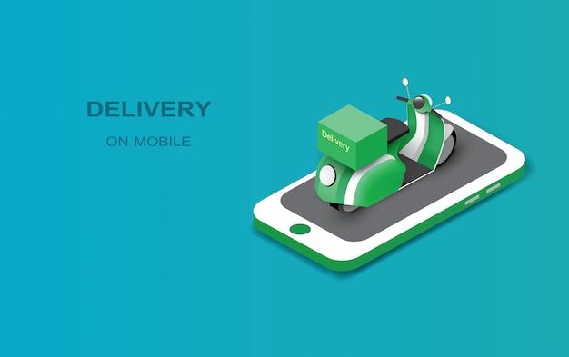 Levering online op mobiel, groene kleur motorfiets op mobiele telefoon.