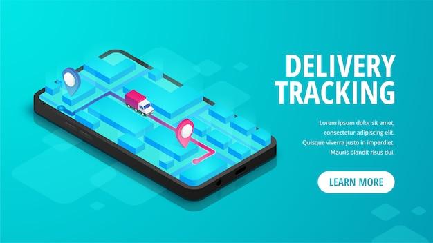 Levering online volgen isometrische banner concept smartphone met kaart, vrachtwagen, pin op scherm.