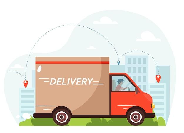 Levering per vrachtwagen. koerier rijden per vrachtwagen met stad achtergrond. in vlakke stijl.