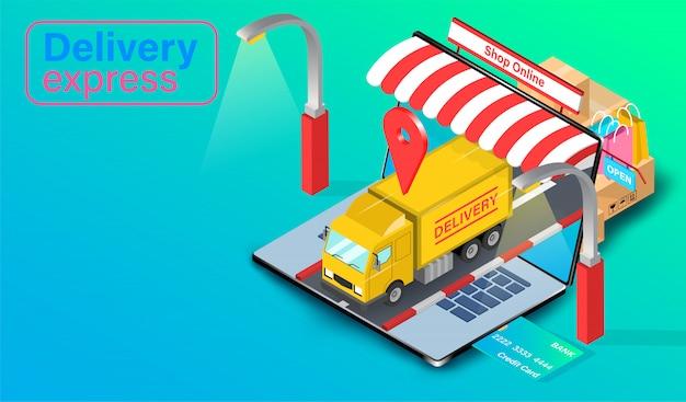 Levering per vrachtwagen op computerlaptop met gps. online eten bestellen en verpakken in e-commerce per website. isometrisch plat ontwerp.