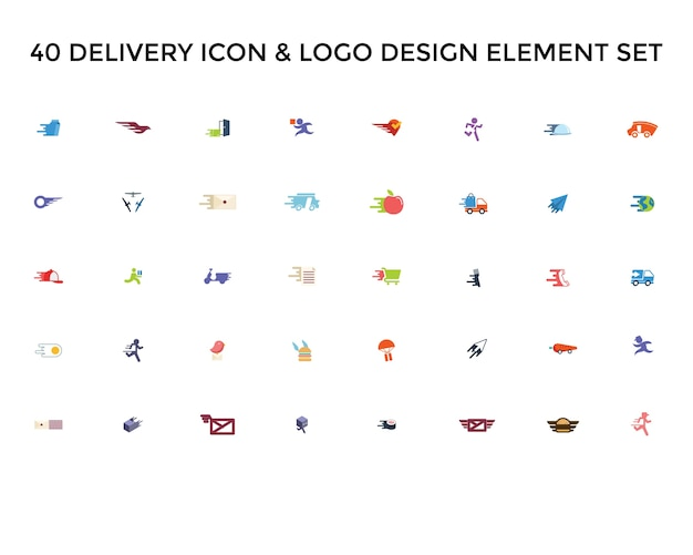 Levering pictogram logo ontwerpset
