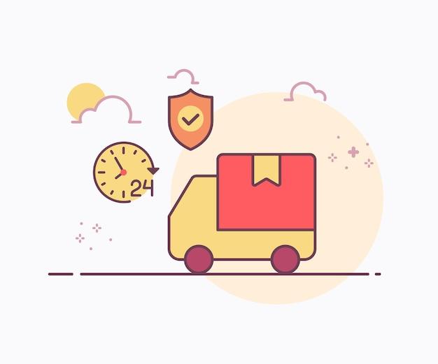 Levering service concept auto bestelwagen rond klok schild icoon met zachte kleur ononderbroken lijn stijl vector ontwerp illustratie Premium Vector