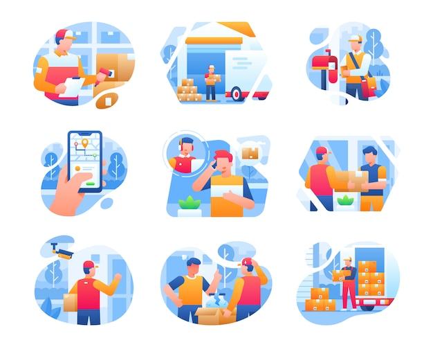 Levering service illustratie collectie met mannelijke courier karakter