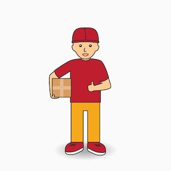 Levering services werknemer in uniform. koeriersmens die een doos houdt. vector illustratie.