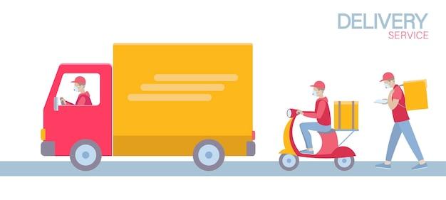 Levering set cartoon verzending auto vrachtwagen lopende koerier