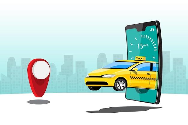 Levering taxi online autodelen met stripfiguur en smartphone slimme stadsvervoerconcept, illustratie