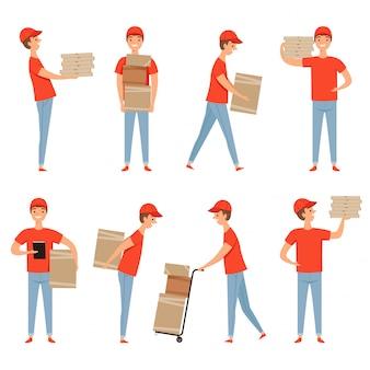 Levering tekens. pizza eten pakketten loader service man aan het werk in magazijn met cartoon dozen. levering mascotte ontwerp