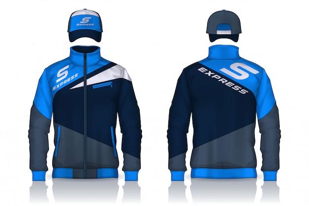 Levering uniform, jas en pet sjablonen ontwerp, zakelijke werkoverhemden.