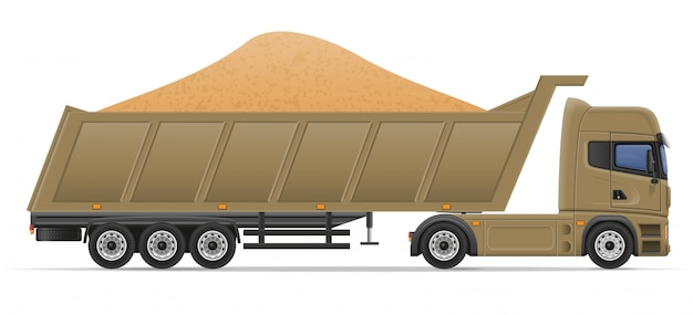 Levering van de vrachtwagen de semi aanhangwagen en vervoer van de vectorillustratie van het bouwmaterialenconcept