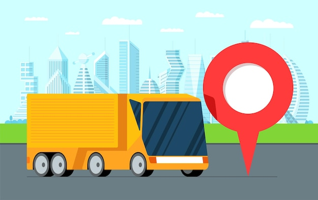 Levering van goederen en vracht naar de gewenste service gele oplegger vrachtwagen logistiek in moderne stad