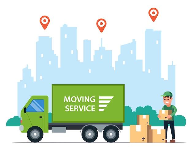 Levering van goederen per vrachtwagen. logistiek in de stad van postvervoer.