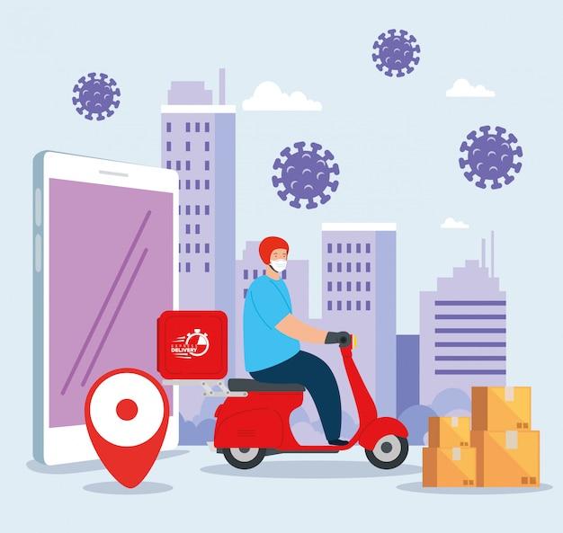Levering van goederen tijdens de preventie van coronavirus, koerierarbeider die gezichtsmasker in motorfiets en pictogrammenillustratieontwerp gebruikt