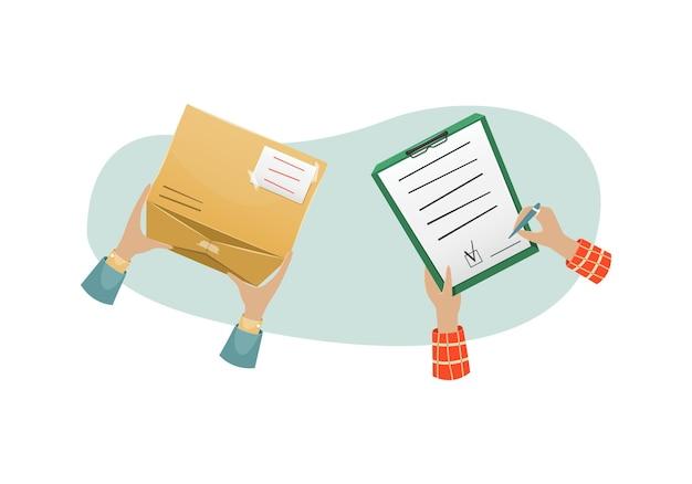 Levering van het pakket door de postbode bij de ontvanger aan huis