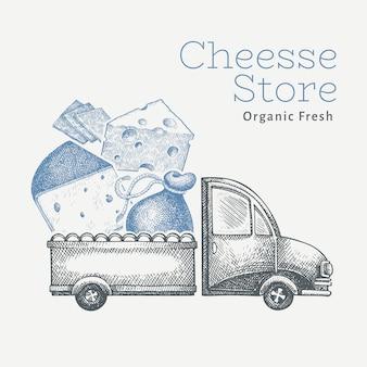 Levering van kaaswinkel. hand getekende vrachtwagen met kaas illustratie. gegraveerde stijl vintage food design.