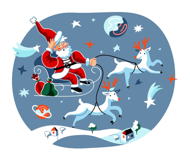 Levering van kerstcadeaus door santa en herten illustratie.