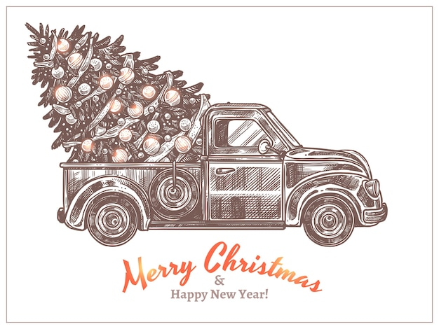 Levering van kerstfeest versierde dennenboom op retro pick-up truck. kerstkaart met vintage auto in schets stijl ets. gelukkig nieuwjaar hand getekend gegraveerde afbeelding