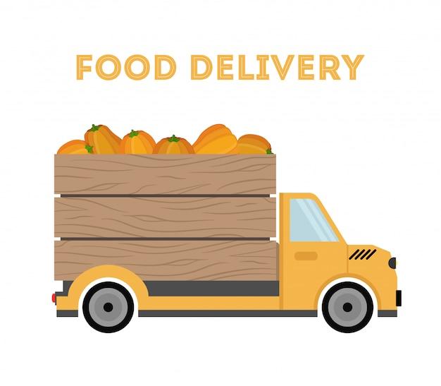Levering van levensmiddelen - verzending van tuinproducten - pompoenen. auto, vrachtwagen