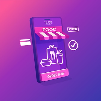 Levering van online levensmiddelenwinkels op mobiel toepassingsconcept.