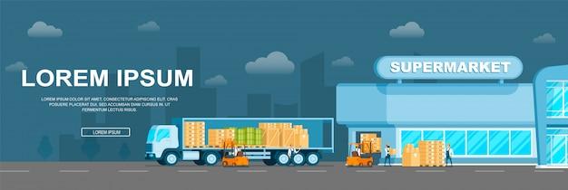 Levering van smart warehouse-vracht aan de supermarkt