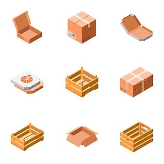 Levering verpakkingsdoos pictogramserie. isometrische set van 9 levering verpakking vak pictogrammen