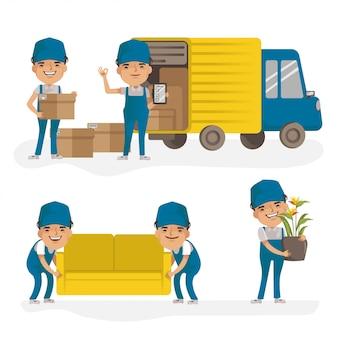 Levering vrachtwagenchauffeur en bezorger bewegende producten. levering man uniform houden dozen. bezorgservice.