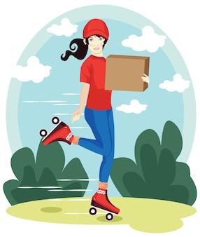 Levering vrouw, levering een pakket met rode hoed en t-shirt cartoon vectorillustratie