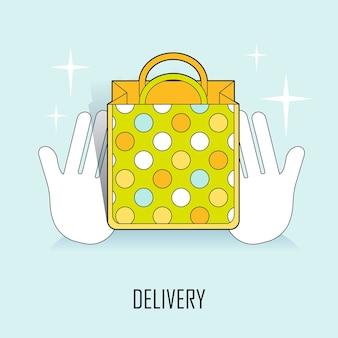Leveringsconcept: handen die een mooie boodschappentas in lijnstijl aanbieden