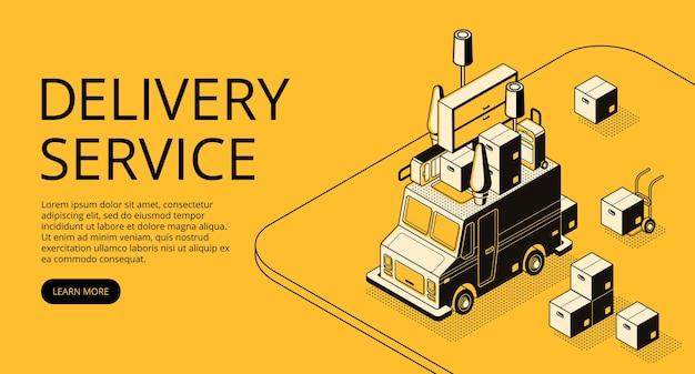 Leveringsdienst illustratie van ladervrachtwagen met meubilair voor zich het bewegen